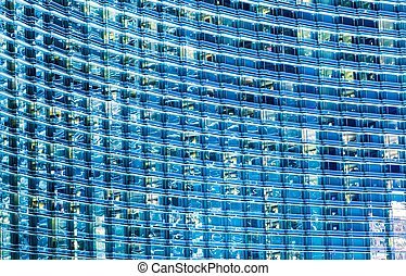 Blue Glassy Building Background Hundreds of Windows...