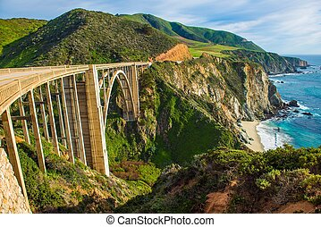 Bixby Creek Bridge in Big Sur, California, United States...