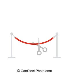 Scissors cut red rope silver barrier stanchions turnstile...