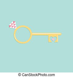 Key from heart wedding engagement ring with pink diamond Flat design