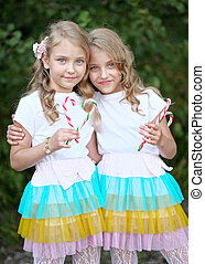 Portrait of two beautifullittle girls twins