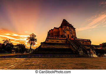 Ancient pagoda at Wat Chedi Luang temple in Chiang Mai,...