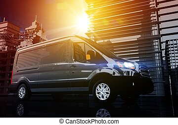 Cargo Van Delivery. Shipping Concept Illustration. Courier...