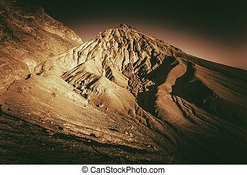 Death Valley Formations in Sepia Color Grading. California,...