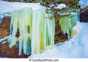 Frozen Waterfall Icicles Colorado Winter Landscape Frozen...
