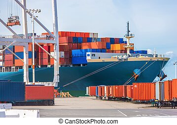 Cargo Ship Loading Ocean Transportation Theme Loading Cargo...