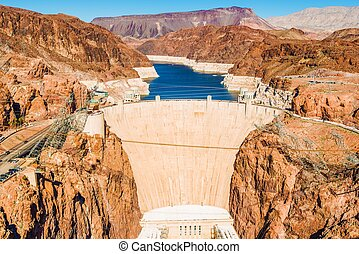 Hoover Dam at Lake Mead - Famous Hoover Dam at Lake Mead,...