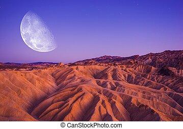 Death Valley Moon Night. Death Valley Badlands Area....