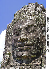 Buddha\'s Face at Bayon Temple, Cambodia - Image of...