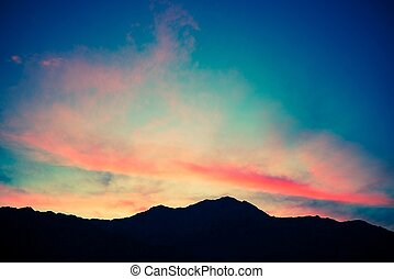 Scenic Mountain Sunset. Mountain Range Silhouette. San...