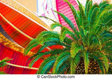 Las Vegas Destination Photo Concept with Palm Tree and...