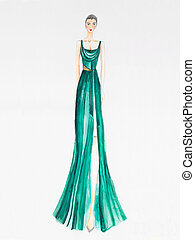 fashion design - fashion sketch woman in long colored dress...