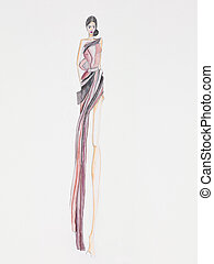 evening gown fashion design - fashion illustration of haute...