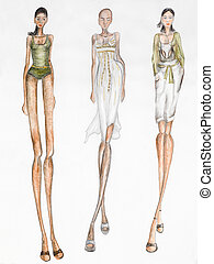 summer trends - fashion design sketch. summer trends