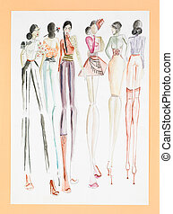 women fashion collection - hand drawn sketch of fashion...