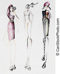 fashion design - fashion sketch of models wearing...
