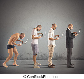 Successful man evolution - Evolution from hunched man to...