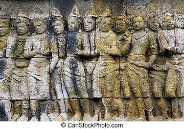 Bas-Relief at Borobudur Temple, Indonesia
