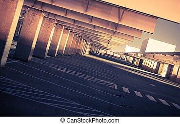 Top Level Public Parking. Empty Parking Space. Urban...
