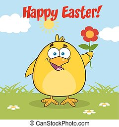 Happy Easter With Smiling Chick