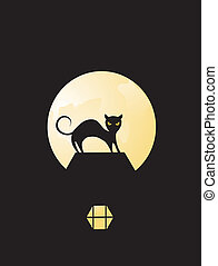 Black Cat - Black cat silhouetted in the moonlight on...