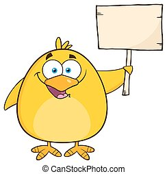 Yellow Chick Holding A Wooden Sign