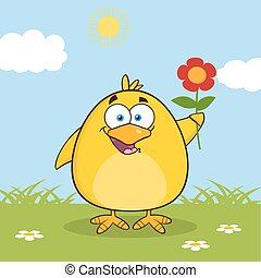 Happy Yellow Chick Character