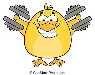 Smiling Yellow Chick With Dumbbells
