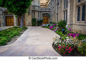 Gardens and church in Pasadena, California