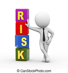 3d man and risk cubes
