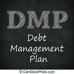 Chalkboard illustration of dmp - debt management plan