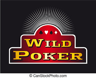 Poker sign - Casino Poker icons on red banner Black...