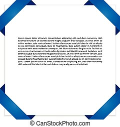 Blank Paper With Blue Origami Frame