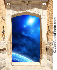 Ancient door and space scene - Frame with ancient door and...
