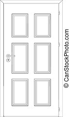 Opened wire-frame door. Vector