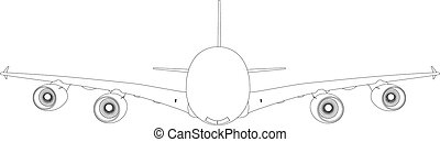 Drawing of airplane Vector illustration rendering of 3d