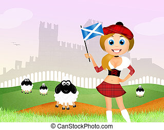 Scottish girl - illustration of Scottish girl