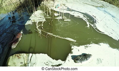 Wastewater with foam - View from bridge to contaminated...