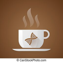 Coffee cup with a DNA sign