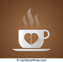 Coffee cup with a broken heart