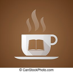 Coffee cup with a book