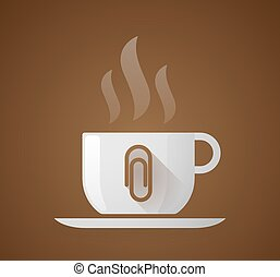 Coffee cup with a clip - Illustration of a coffee cup with a...