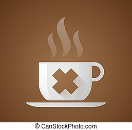 Coffee cup with an irritating substance sign - Illustration...