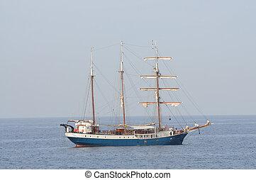 Sail ship in the sea