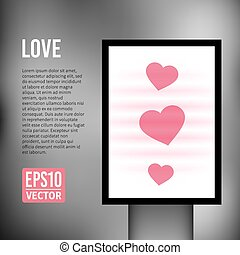 Vector Love heart valentine vertical light billboard -...