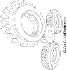 Wire-frame gears Vector - Sketch of wire-frame gears...
