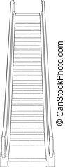 Wire-frame escalator. Vector illustration rendering of 3d
