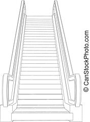 Wire-frame escalator Vector illustration rendering of 3d