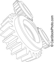 Wire-frame gears. Vector