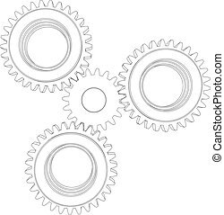 Wire-frame gears. Vector - Sketch of wire-frame gears....